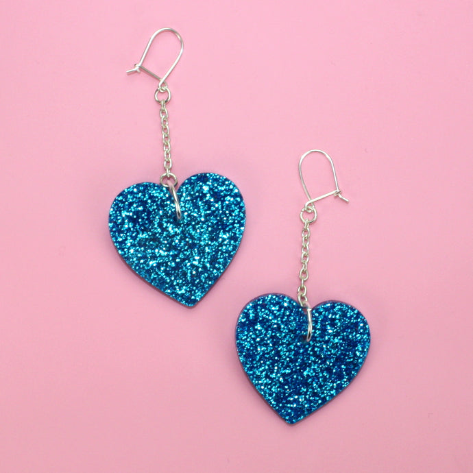Blue Queen of Hearts Earrings (Large)