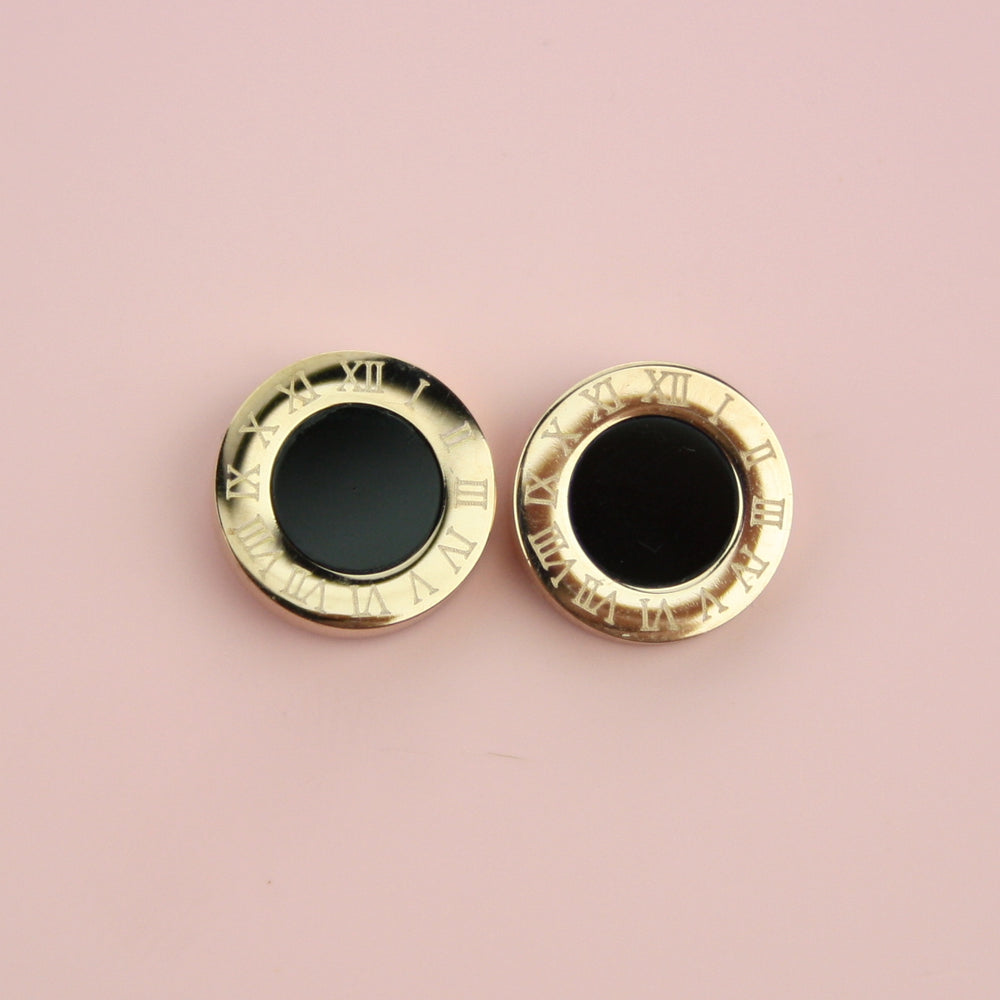 Roman Numerals Stud Earrings (Dark)