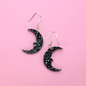 Small Black Glitter Moon Earrings