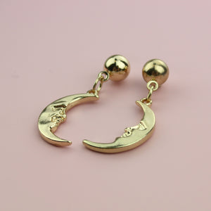 The Man In The Moon Stud Earrings (Gold Plated)