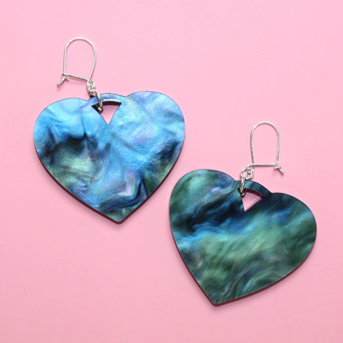 Galaxy Marble Heart Drop Earrings