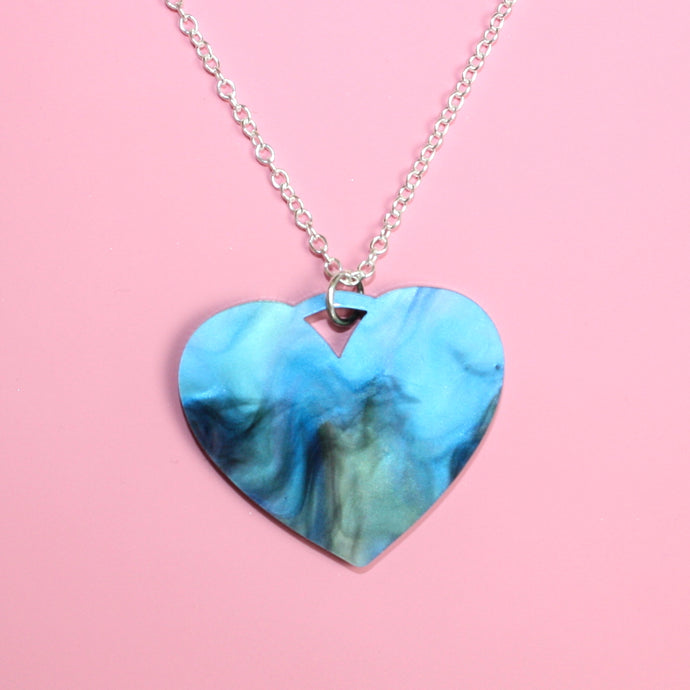 Galaxy Marble Heart Necklace