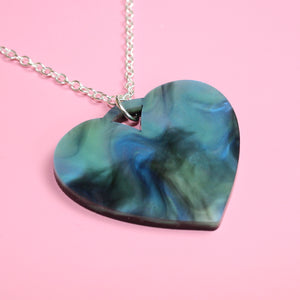 Galaxy Marble Heart Necklace - Sour Cherry