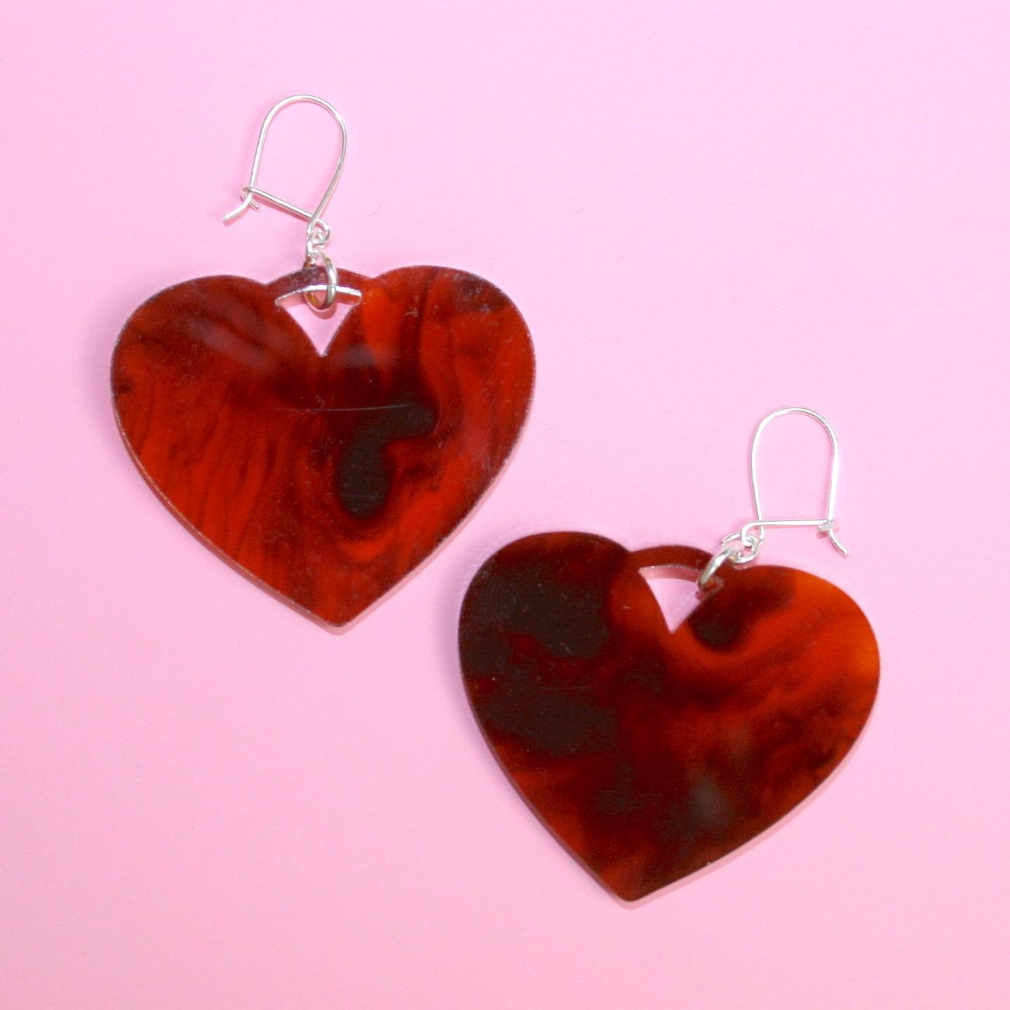 Tortoiseshell Heart Drop Earrings