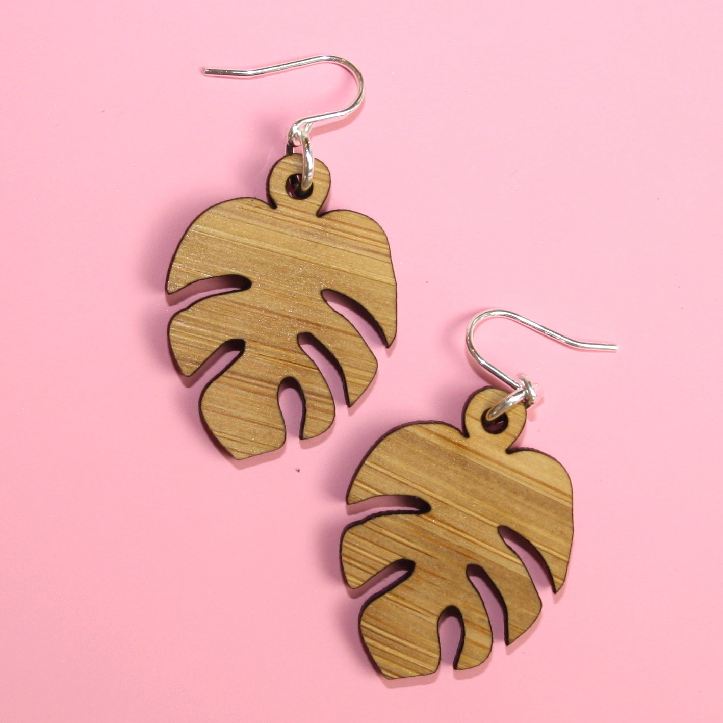 Small Bamboo Monstera Earrings