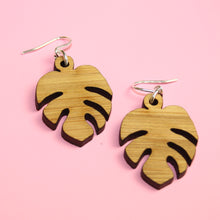 Load image into Gallery viewer, Small Bamboo Monstera Earrings