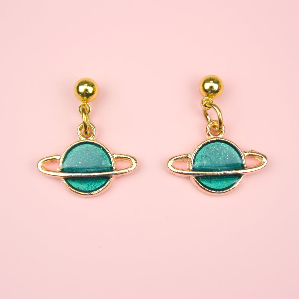 Load image into Gallery viewer, Green Planet Earrings