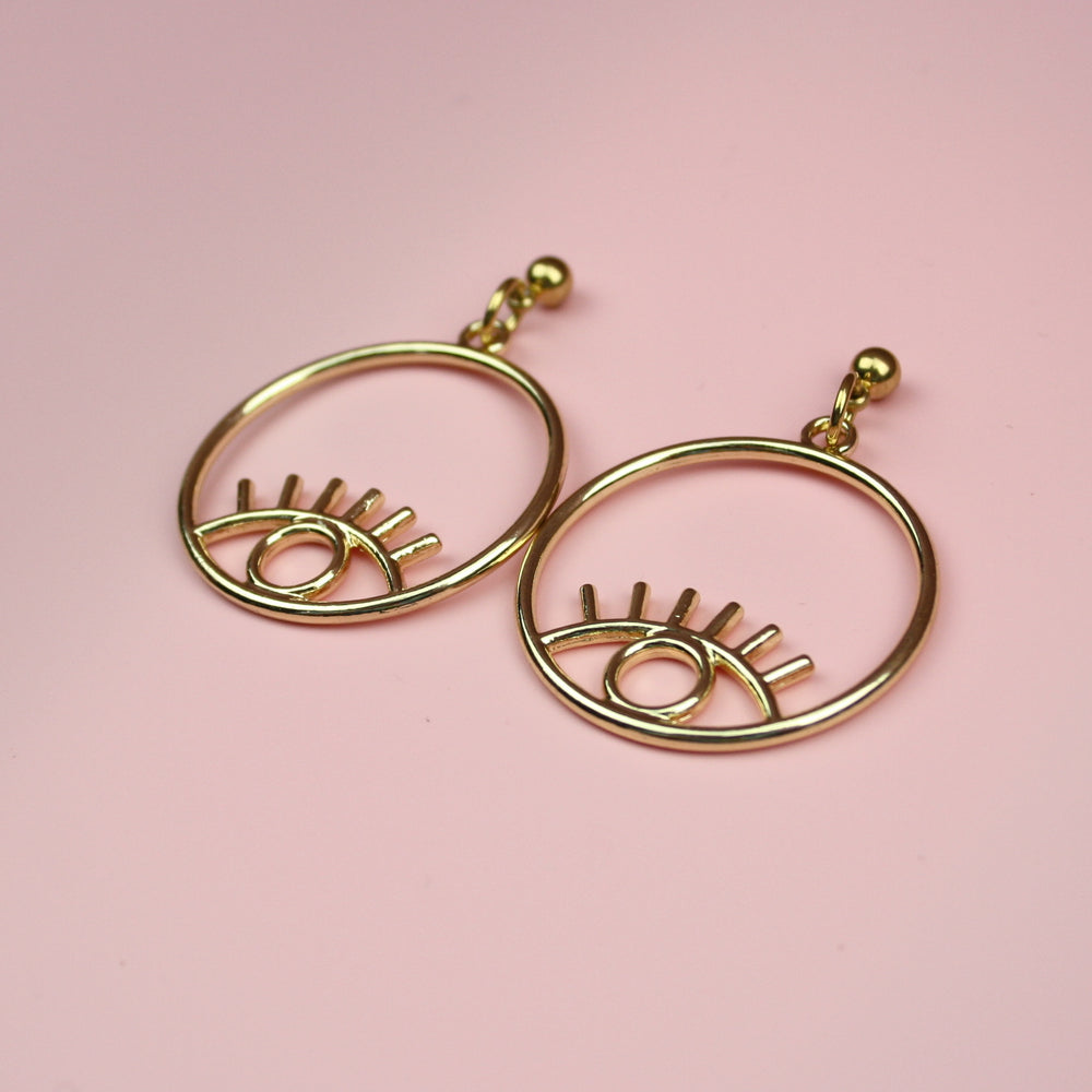 Small Circle Eye Earrings (Gold Plated)
