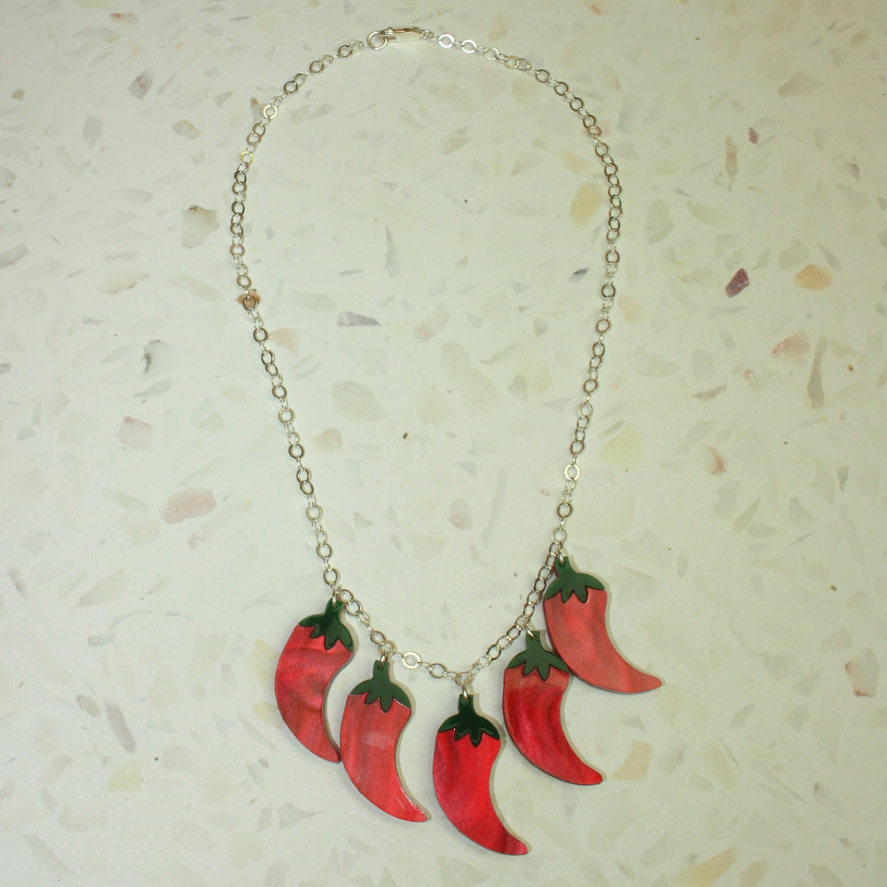 Feeling Hot Hot Hot Chunky Marble Necklace - Sour Cherry