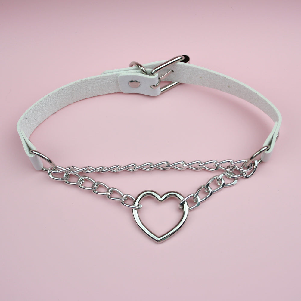 Load image into Gallery viewer, White Double Chain Heart Choker