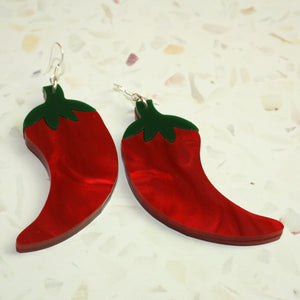 Large Feeling Hot Hot Hot Chilli Marble Earrings