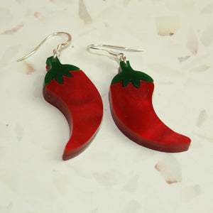 Small Feeling Hot Hot Hot Chilli Marble Earrings - Sour Cherry