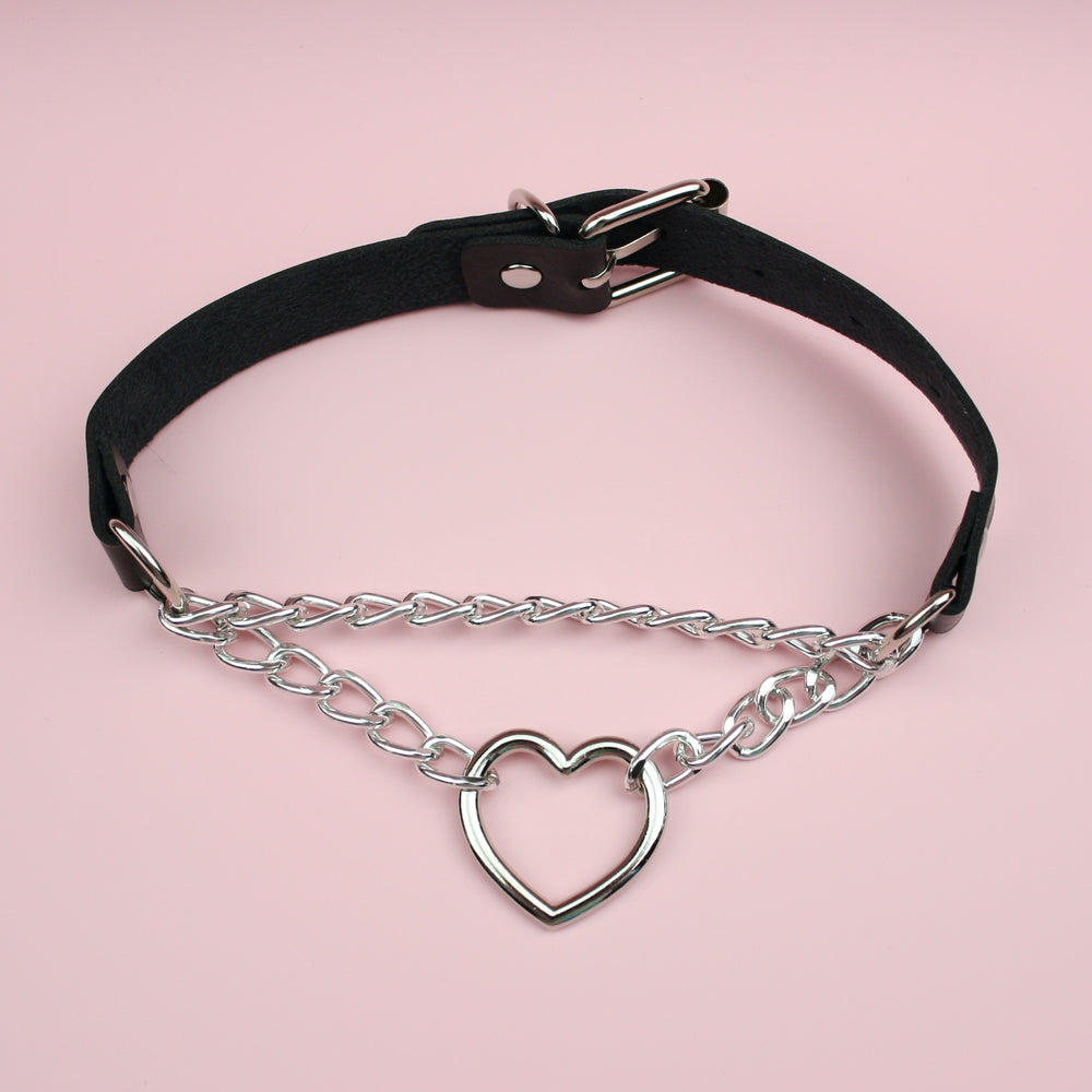 Load image into Gallery viewer, Black Double Chain Heart Choker