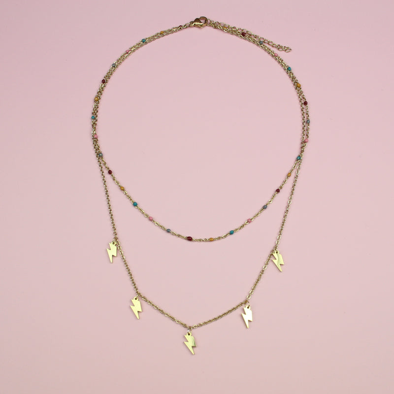 Lightning & Bead Double Layer Necklace