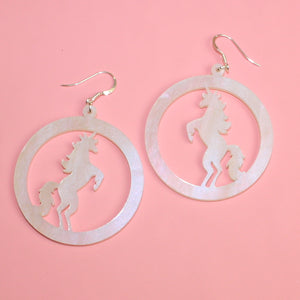 Iridescent Marble Unicorn Earrings - Sour Cherry