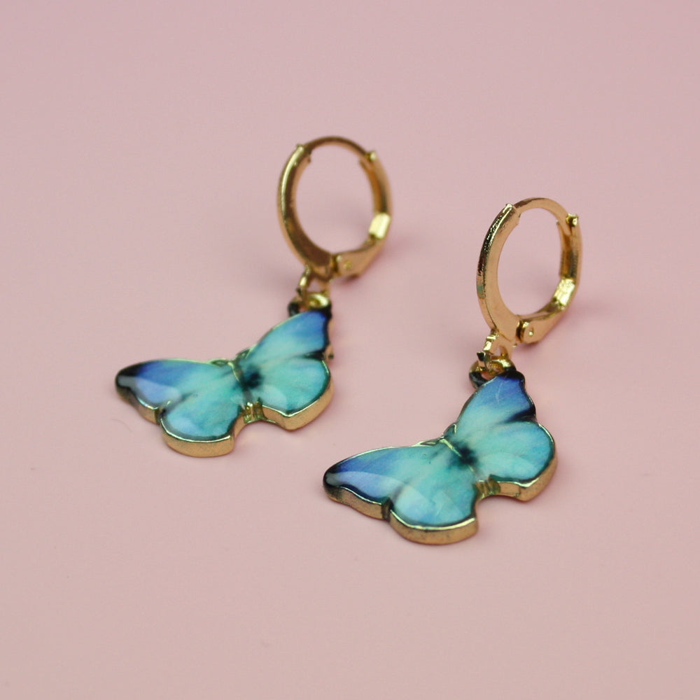 Load image into Gallery viewer, Turquoise Butterfly Hoop Earrings