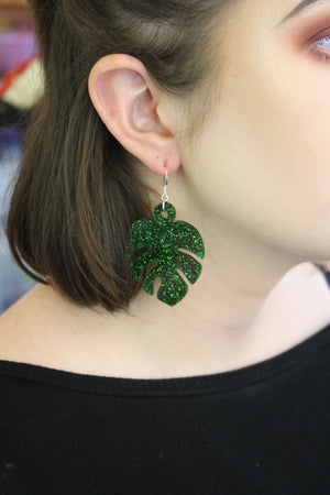 Load image into Gallery viewer, Large Moss Green Glitter Monstera Earrings - Sour Cherry