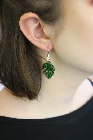 Small Moss Green Glitter Monstera Earrings - Sour Cherry