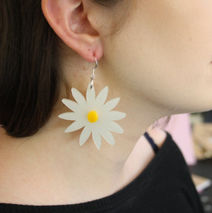 Large Daisy Earrings - Sour Cherry