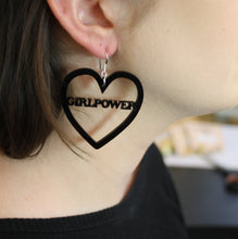 Load image into Gallery viewer, Black GIRLPOWER Heart Earrings
