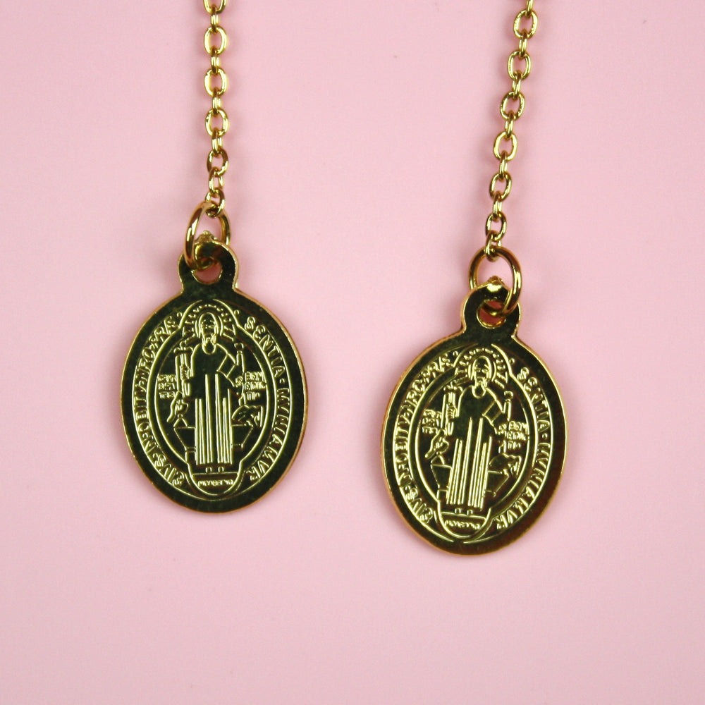 Load image into Gallery viewer, Saint Benedict Pull Through Threader Earrings