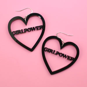 Black GIRLPOWER Heart Earrings - Sour Cherry