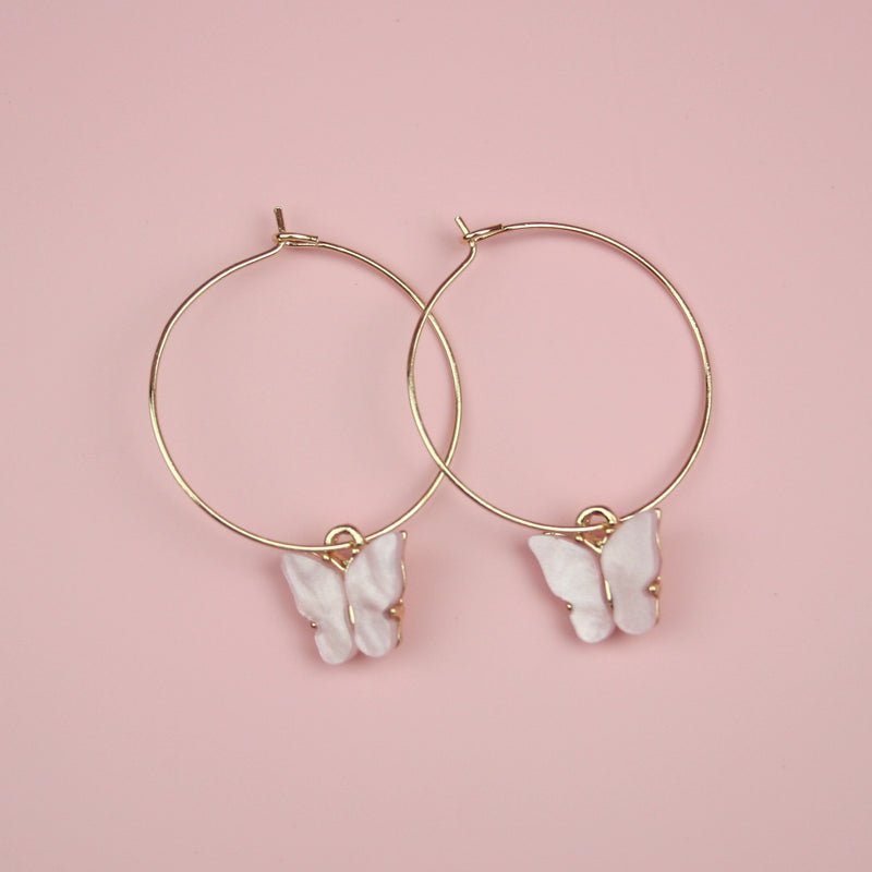 Butterfly Hoop Earrings (Pink Pearl Effect)