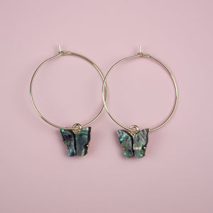 Butterfly Hoop Earrings (Shell Effect)