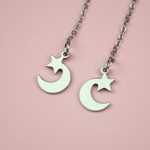 Star & Crescent Moon Pull Through Earrings