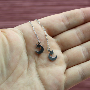Load image into Gallery viewer, Star & Crescent Moon Pull Through Earrings