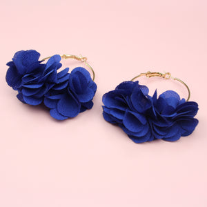 Blue Flower Hoop Earrings