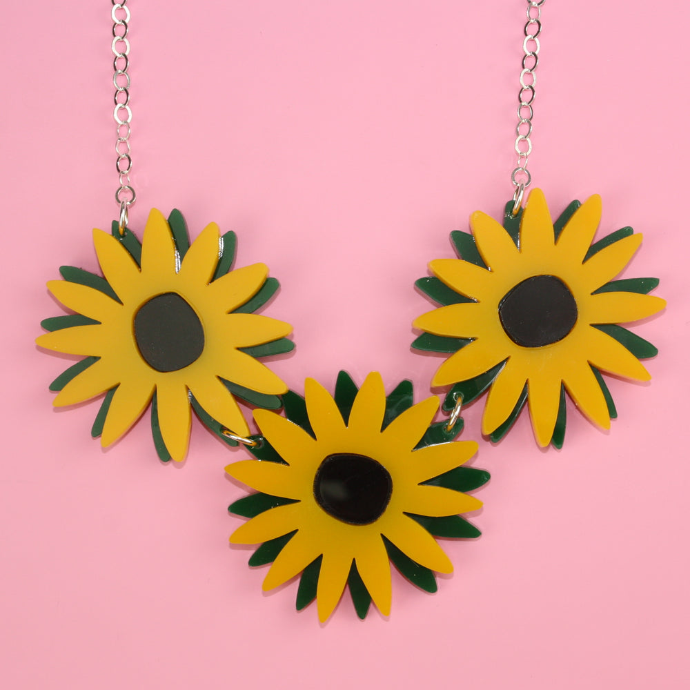Sunflower Necklace - Sour Cherry