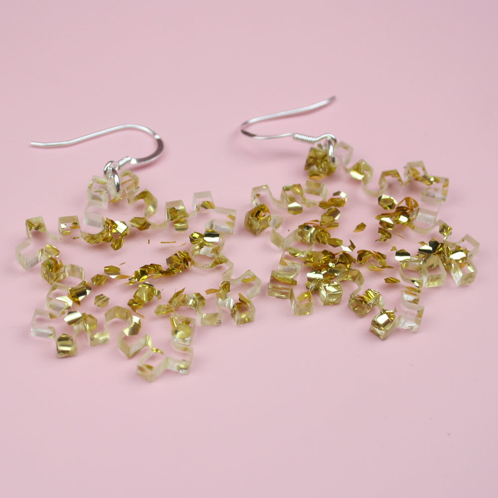 Gold Foil Snowflake Earrings