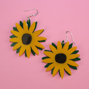 Large Sunflower Earrings - Sour Cherry
