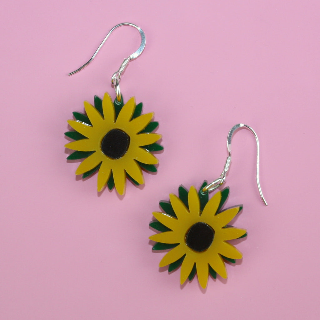 Small Sunflower Earrings - Sour Cherry