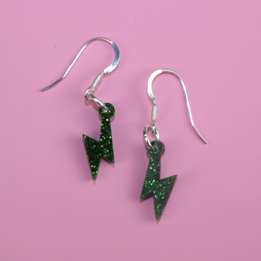 Mini Green Glitter Lightning Bolt Earrings - Sour Cherry