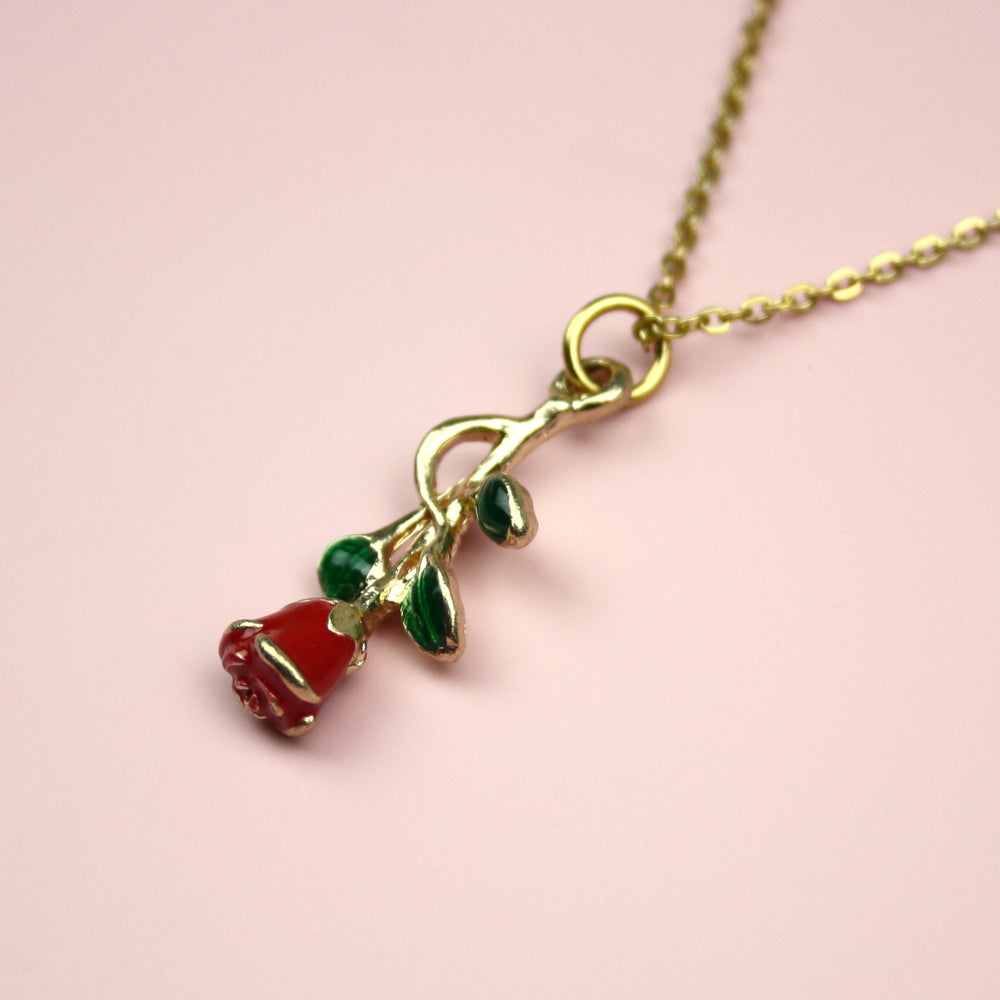 Red Enchanted Rose Necklace