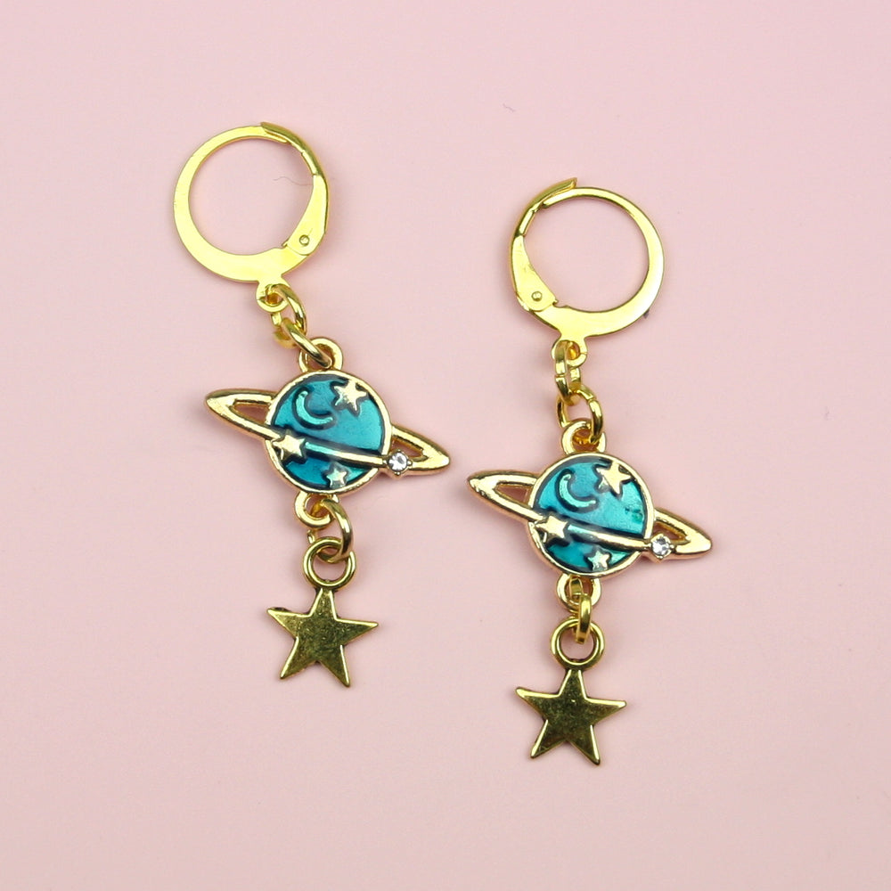 Blue Milky Way Hoop Earrings