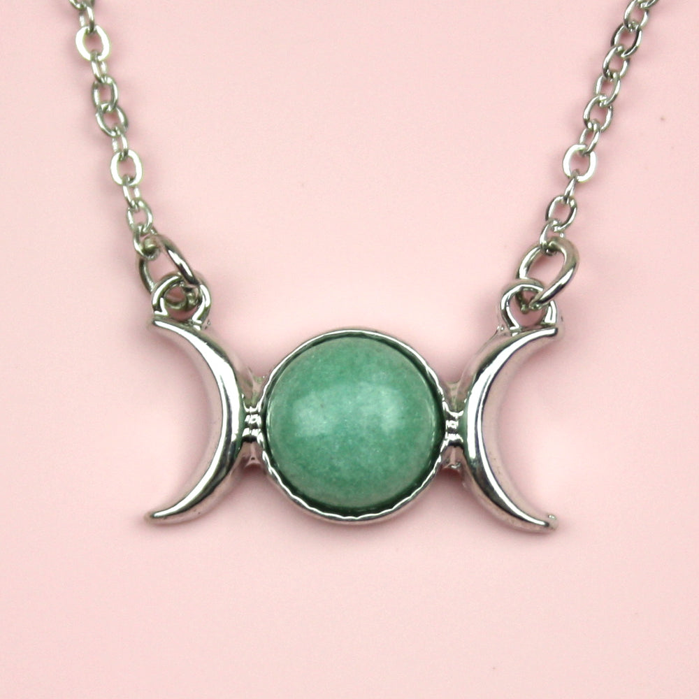 Green Aventuirne Moon Necklace