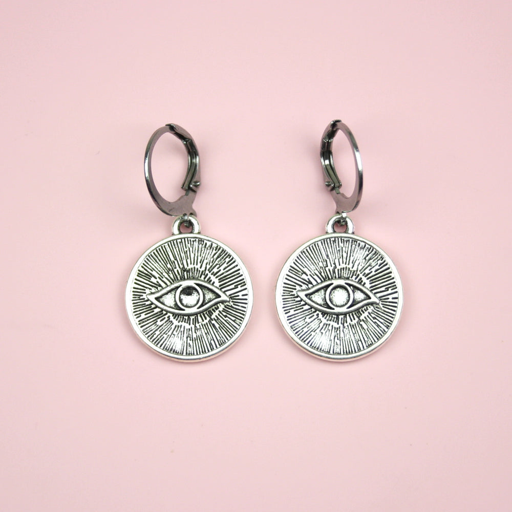 Evil Eye Charm Hoop Earrings