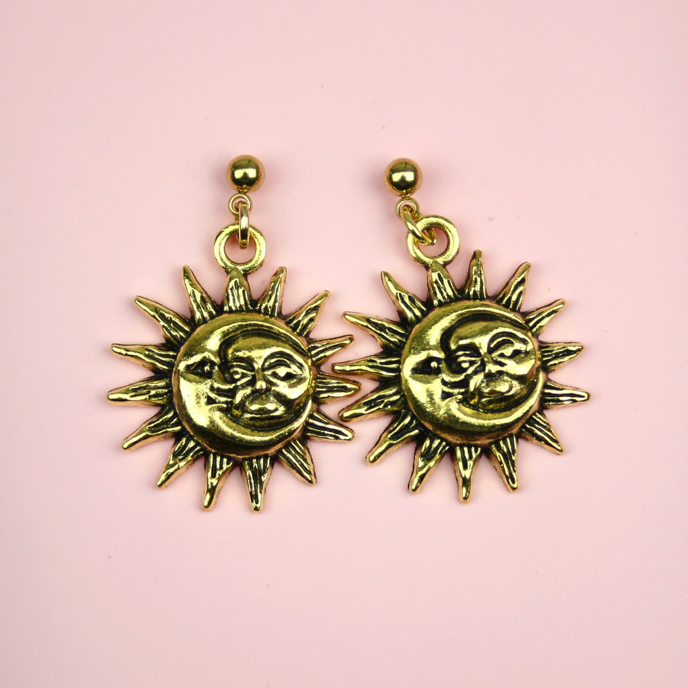 Moon & Sun Stud Earrings (Gold Plated)