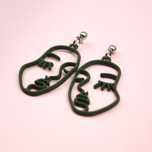 Large Face Earrings (Olive Green)