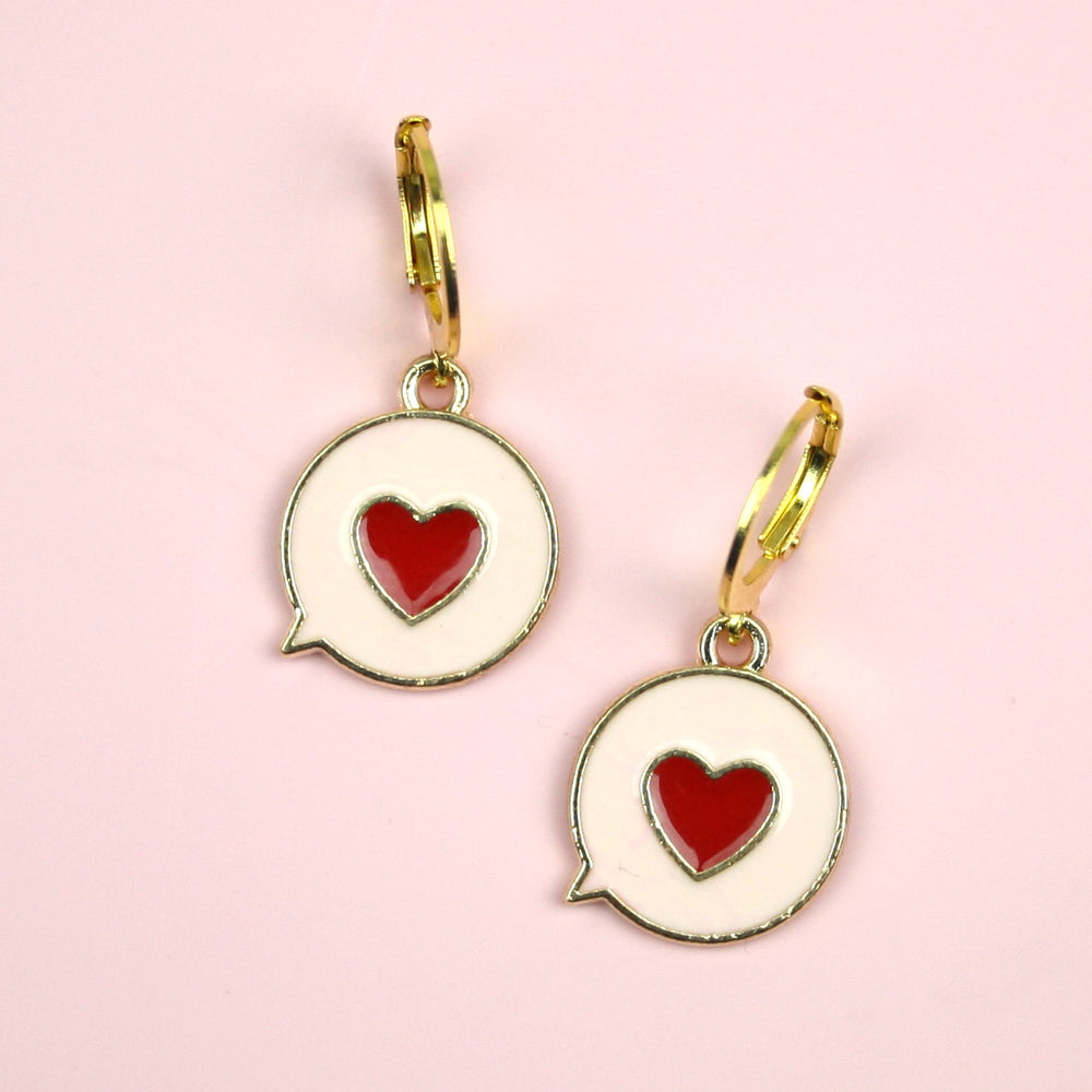 Love You Message Hoop Earrings