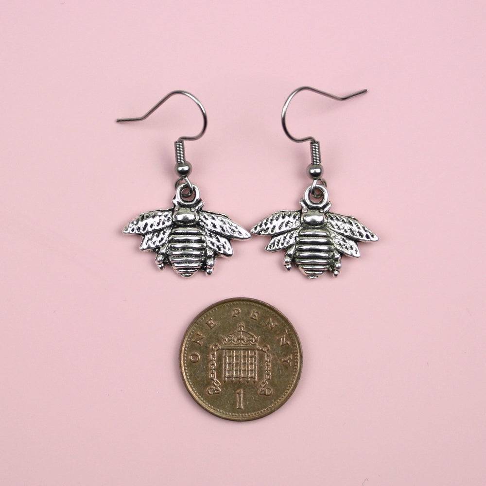 Antique Silver Bee Drop Earrings