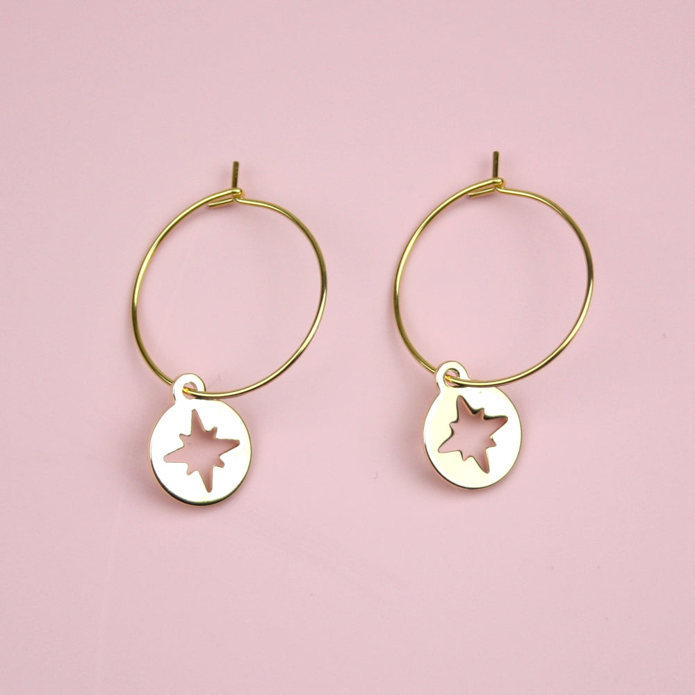 Compass Hoop Earrings (Gold Plated)