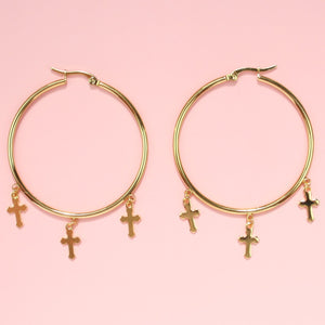 Triple Cross Hoop Earrings