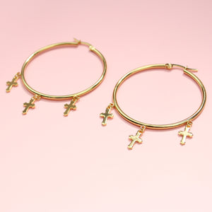 Load image into Gallery viewer, Triple Cross Hoop Earrings