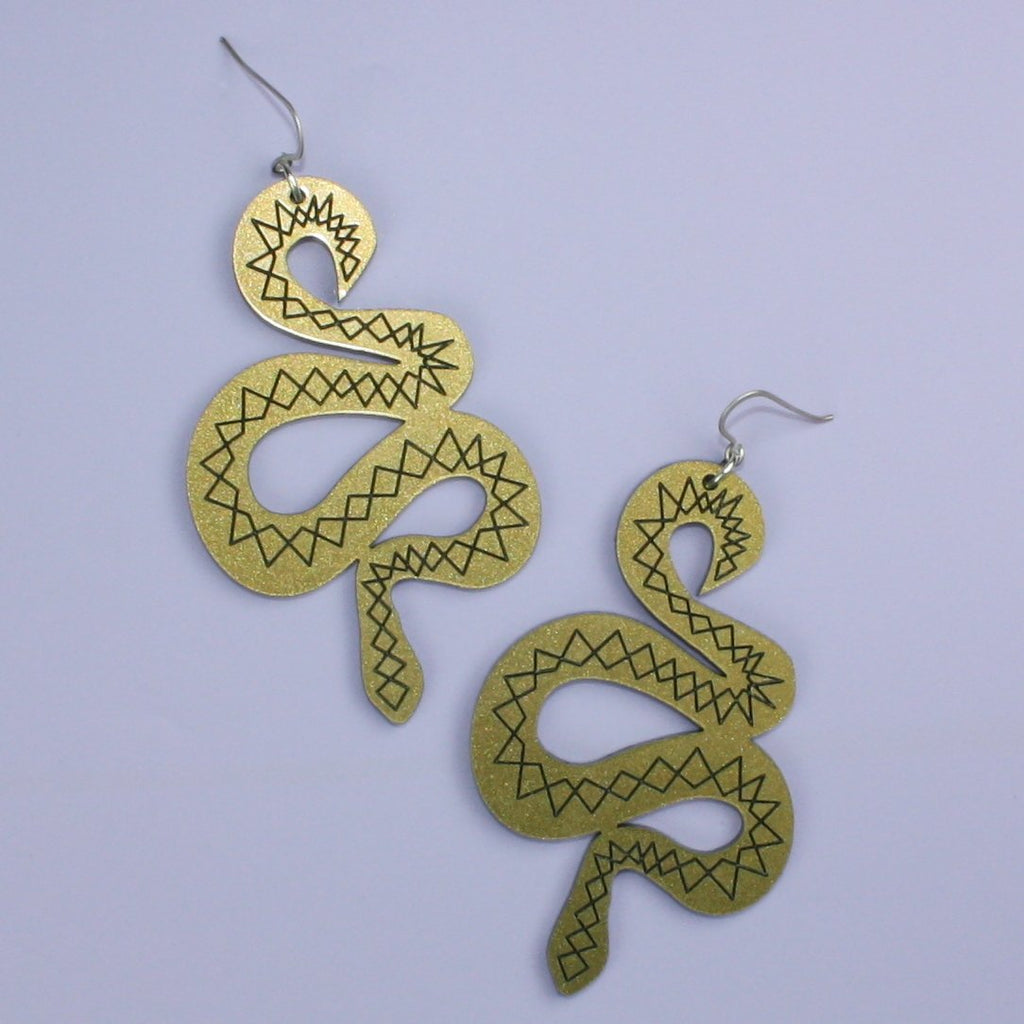 Large Gold & Black Snake Earrings - Sour Cherry