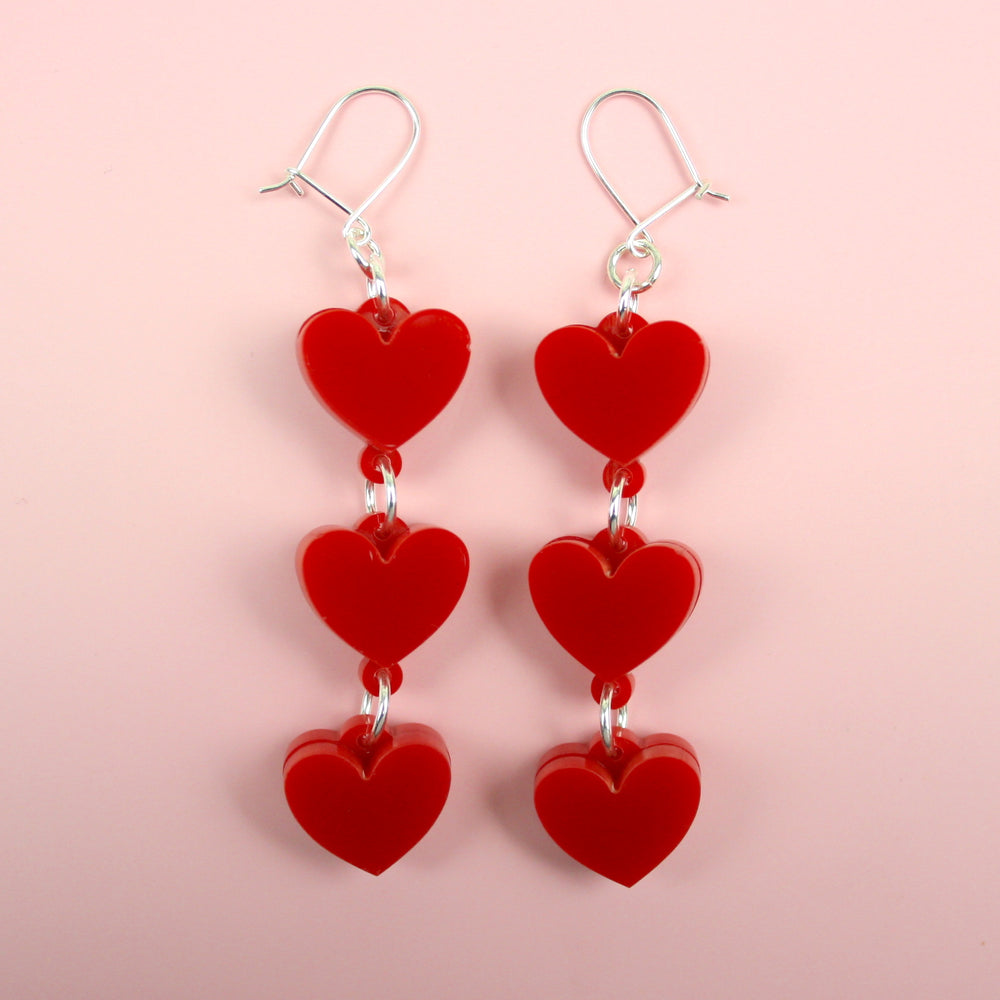 Red Trio Of Hearts Earrings