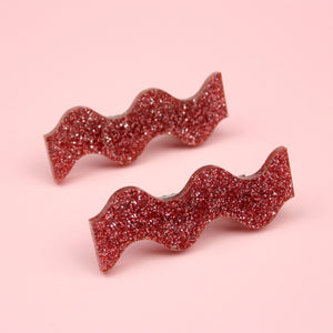 Pink Glitter Wavy Hair Clips